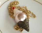 Large Strawberry Ice Cream Sundae Waffle Cone necklace - Sundae Everyday END OF SUMMER SALE 30 PERCENT OFF