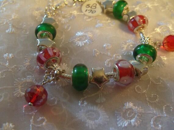 Red & Green European Style Bracelet (B170)