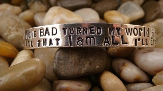 "Pearl Jam ""Black"" Lyrics Sterling Silver Super Thick Cuff Bracelet"