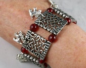 Celtic Silver and Red Glass OOAK Scottie Stretch Cuff Bracelet - B-185s