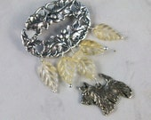 Sterling Silver Oak Leaf and Carved Citrine OOAK Scottie Brooch Pin - P-19s