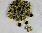 Big Gobby Jet Black, Gray and Gold Rhinestone OOAK Scottie Brooch Pin - P-49s