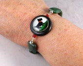 Reverse Painted Glass Intarsia Cabochon with Dark Green Jade OOAK Scottie Adjustable Bracelet - B-187s