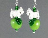 Green Pippin Apple Lampwork Glass OOAK Artisan Westie Scottie Dangle Earrings - E-191s