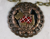 Vintage Bronze, Copper and Enamel Heraldic Medieval Coat of Arms OOAK Scottie Pendant - 313s