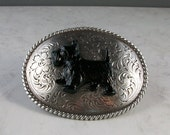 Western Engraved Silver and Enamel Large Oval OOAK Scottie Belt Buckle - BU-8