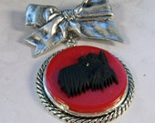 Classical Vintage Silver Bow with Red Bakelite and Black Glass OOAK Scottie Brooch Pin - P-166s