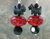 RESERVED for Jamie Lees - Siam Ruby Red and Jet Swarovski Crystal OOAK Artisan Scottie Dangle Earrings - E-213s