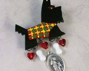 UpCycled Vintage Scottie with Bones, Hearts and St Francis Medal OOAK Brooch Pin - P-21s