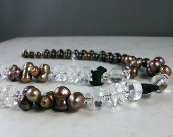 Crystal Clear Quartz and Bronze Pearl OOAK Scottie Necklace and Earring Set - 287ss