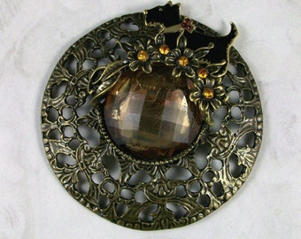 UpCycled Big Vintage Topaz and Bronze Filigree OOAK Scottie Brooch Pin - P-37s