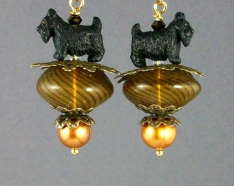 Bronze Murano Balloons Artisan Scottie Dangle Earrings - E-167s