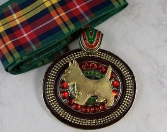 Bold Jeweled and Enameled Vintage Bronze with Tartan Sash OOAK Scottie Pendant - 314s
