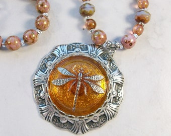 Amber and Silver Dragonfly and Venus OOAK Scottie Fairy Necklace - 340s