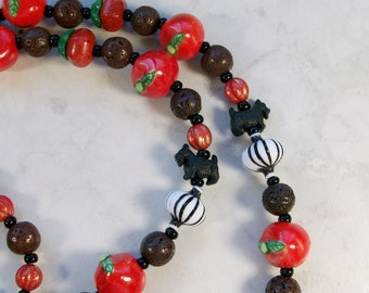 Ragu Spaghetti and Meatballs OOAK Scottie Necklace and Earrings Set - 343ss