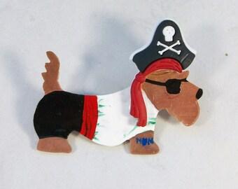 Yo-Ho-Ho, Arrrrooo Pirate Copper and Enameled OOAK Scottie Brooch Pin - P-163s