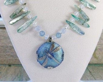 Blue Dragonfly, Moon, Stars, Kyanite, Opalite, Chalcedony and Sea Glass OOAK Scottie Fairy Necklace - 339s