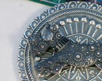 Round Vintage Silver and Moonstone Deco OOAK Scottie Pendant - 344s