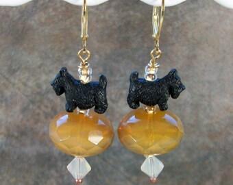 Desert Sand Opal Swarovski Crystal and Gold OOAK Artisan Scottie Dangle Earrings - E-211s