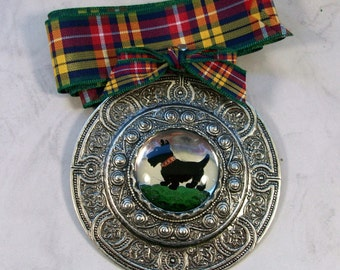 Classic Round Vintage Silver and Reverse Painted Intaglio with Buchannan Tartan Ribbon OOAK Scottie Pendant Brooch - 351s