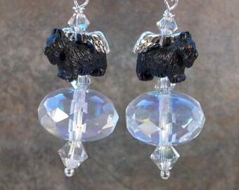 Water Fairy Swarovski Crystal OOAK Artisan Scottie Dangle Earrings - E-205s