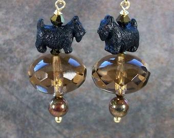 Smoky Topaz and Bronze Swarovski Crystal OOAK Artisan Scottie Dangle Earrings - E-212s