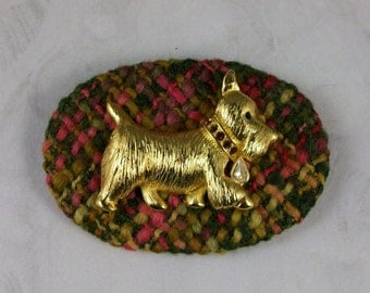 Large Bold Autumn Tweed and Gold OOAK Scottie Brooch Pin - P-59s