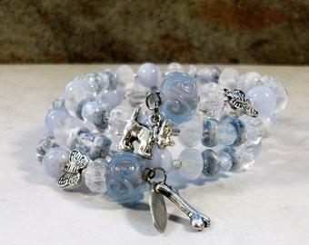 Pale Blue Lace Agate, Crystal and Silver Butterflies OOAK Scottie Coil Bracelet - B-211s