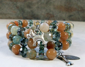 Herbs and Spice Onyx, Aventurine, Crystal and Silver OOAK Scottie Coil Bracelet - B-205s