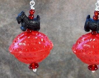 RED Vintage Acrylic, Black and Sterling Silver OOAK Artisan Scottie Dangle Earrings - E-219s