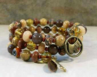 Earthy Jasper, Aventurine, Glass and Bronze OOAK Scottie Coil Bracelet - B-209s