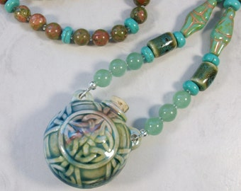 Water Spirit - Raku Celtic Bottle with Venus Fertility OOAK Scottie Fairy Necklace - 355s