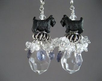 Enchanted Periwinkle Iolite and Clear Quartz OOAK Scottie Earrings - E-97s