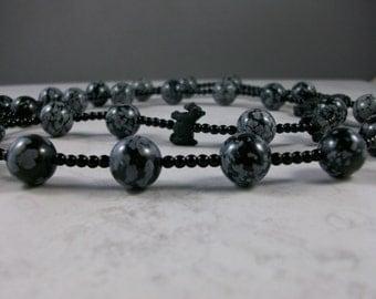 Black Brindle Snowflake Obsidian OOAK Scottie Necklace and Earrings Set - 197ss