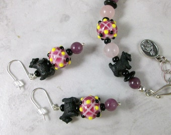 Tartan Plaid Lampwork, Rubies and Rose Quartz OOAK Scottie Adjustable Bracelet and Earring Set - B-154ss