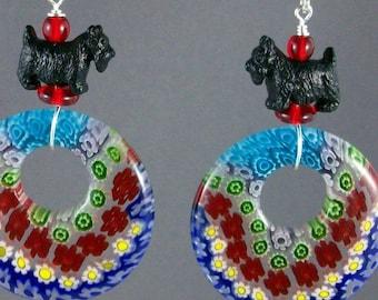 Millefiori Glass Donut OOAK Scottie Earrings - E-141s