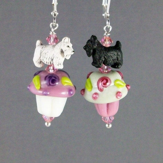 Pink and White Lampwork Glass Cupcakes and Sterling Silver OOAK Artisan Scottie Dangle Earrings - E-195s