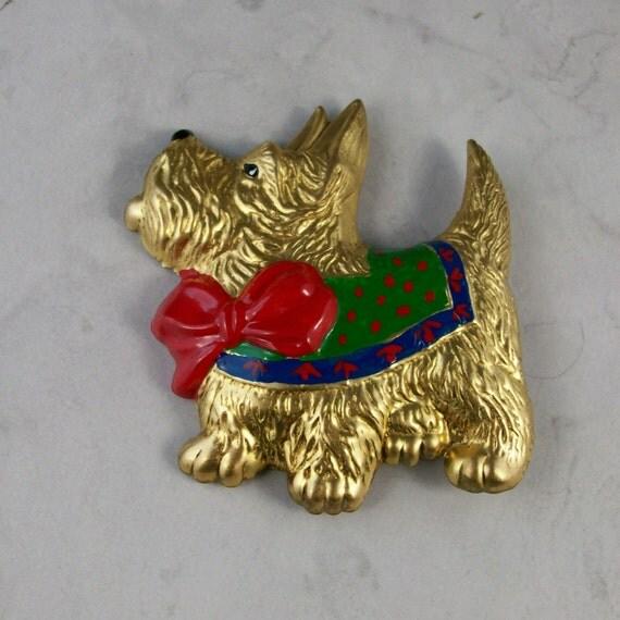 Big Fat Puppy Enameled Gold Vintage OOAK Scottie Brooch Pin - P-125s