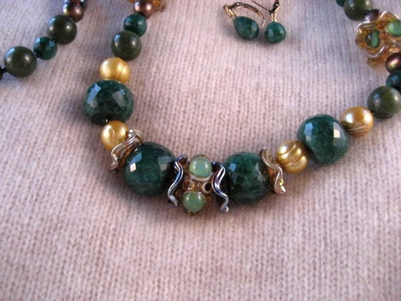 Emerald City Scottie OOAK Necklace and Earrings Set - 235s