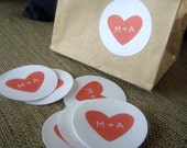 "2"" Monogram Heart Wedding Stickers"