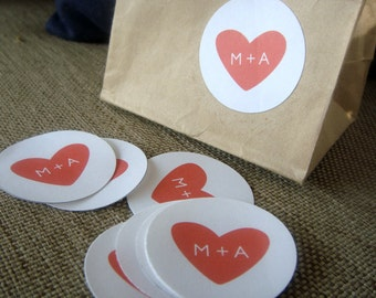 "2"" Monogram Heart Wedding Stickers"