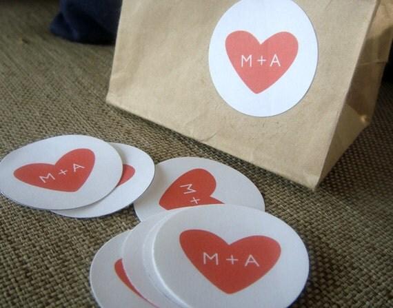 "1.5"" Monogram Heart Stickers   Wedding   Favors   Envelope Seal"