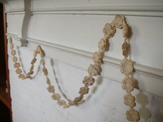 Antiqued White Crochet Rosette Garland