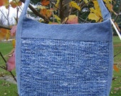 Blue recycled denim handwoven bag