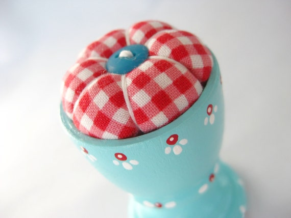 Handpainted Eggcup Pincushion and Two Blossom Pins - Sky Blue