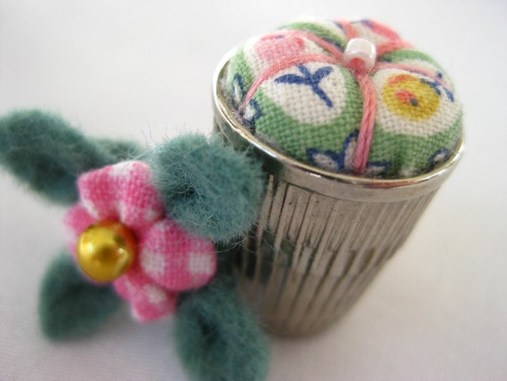 Thimble Full of Fun - A Very Petite Pincushion Bouquet - Spring Garden