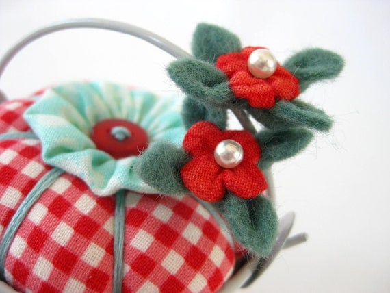 Pincushion Pail with Blossoms in Red Gingham