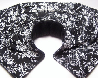 Heating Pad, Neck Shoulder Microwave Heat Pack, Rice Heating Wrap, Fibromyalgia, Rheumatoid Arthritis - black and white