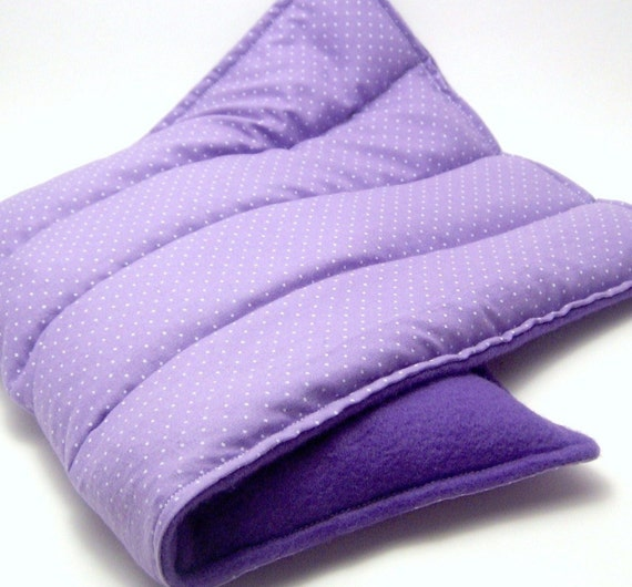 Heating Pad, Lumbar Back Hot Cold Pack, rice and flax, purple dots