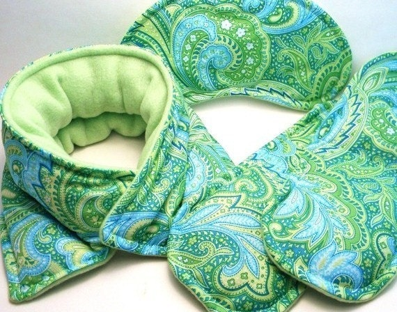Migraine, Headache Relief Set - Targeted Hot, Cold Therapy Packs - turquoise, aqua green paisley